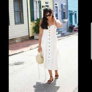 UO Emilia White Button-Through Midi Dress